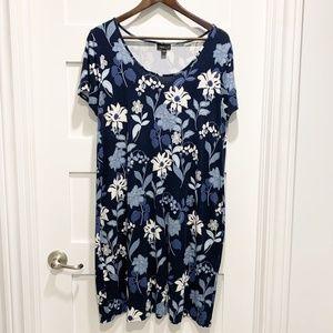 J. Jill Wearever Collection Navy Blue Floral Dress